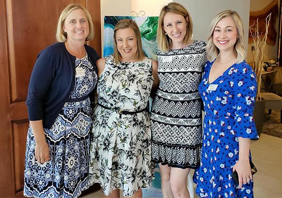 "Sisterhood for Good ""Spring Sensations"" Fashion Show. L to R: Jenifer Schembri, Jill McGarry, Ann Breitinger, Amanda Tullidge"